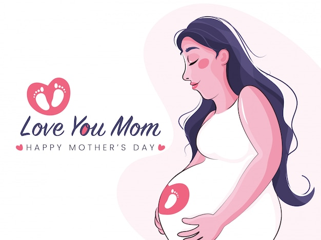 Иллюстрация беременной мамы и текст тебя люблю мама. концепция день счастливой матери.