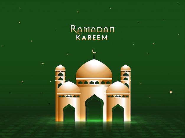 美しい緑の背景に黄金のモスク。イスラムの聖なる月