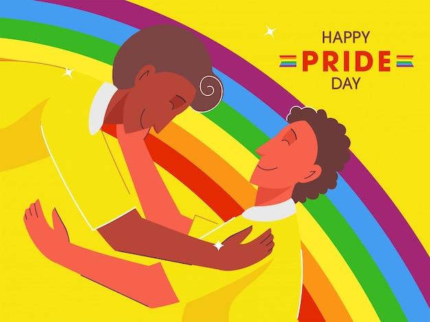 若い同性愛者のカップルとの幸せなプライドデーイラストは、虹色の背景でお互いを受け入れます。