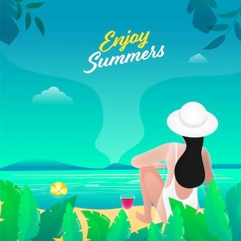 美しいビーチビューに座っている若い女の子の背面図で夏のコンセプトをお楽しみください。