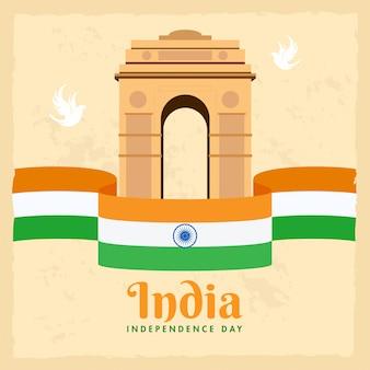 Иллюстрация памятника строба индии с голубями и лентой индийского флага на бежевой предпосылке для концепции дня независимости.