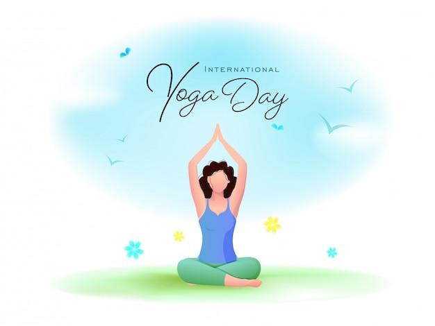 Международный день йоги шрифт с мультфильм молодая женщина, медитируя в позе лотоса и летающих птиц на глянцевой фоне.