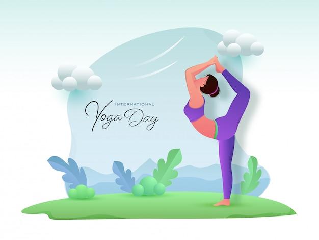 Мультяшный молодая девушка практикующих натараджасана йога с глянцевой облака и листья на абстрактный фон для международного дня йоги.
