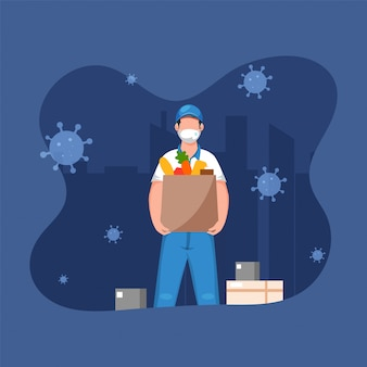 青い街並みの背景に食料品の袋と宅配ボックスを保持している医療マスクを身に着けている配達の少年。