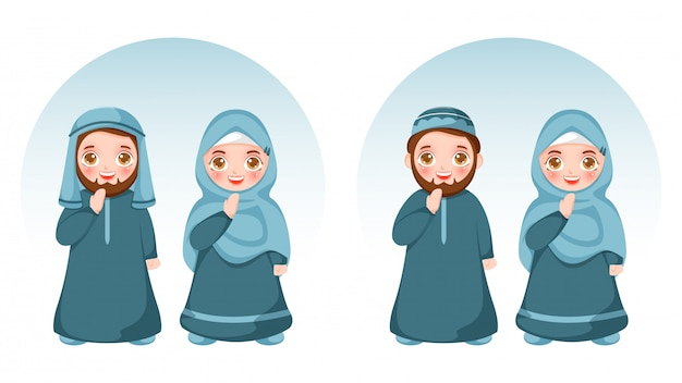 漫画のイスラム教徒のカップルがサラムやアーダブのポーズで伝統的な服装を着ています。
