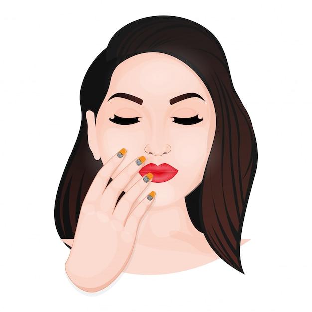 白い背景の上のマニキュアの手で美しい若い女性の顔。