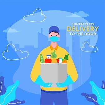 非接触型配達人は、コロナウイルスの間、防護マスク、手袋を着用し、ドアに食料品箱を持ちます。