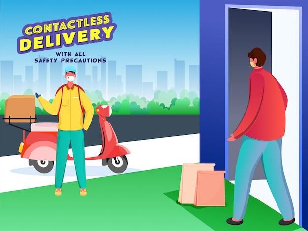 宅配便の少年がドアの近くの非接触型顧客の近くに小包を配達し、コロナウイルスを防ぐための安全対策を提供します。