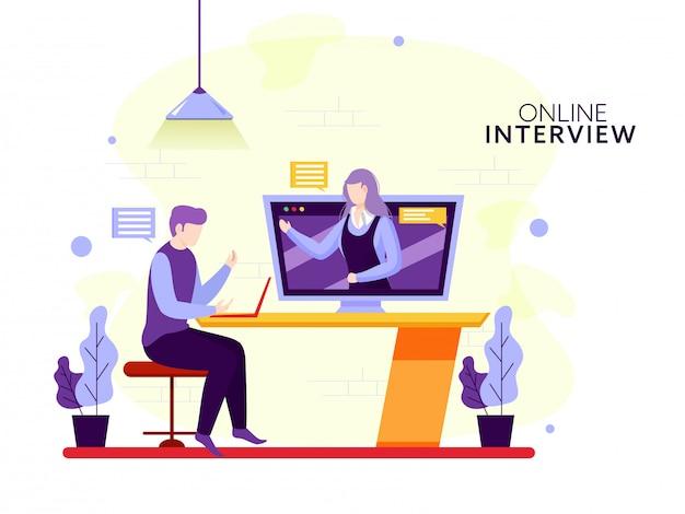 顔のない実業家とオンラインのインタビューの概念のためのデジタルデバイスからお互いを呼び出すビデオを取る女性。
