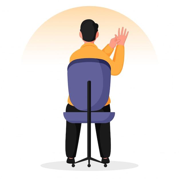 椅子で指圧ハンドマッサージをしている男の背面図。