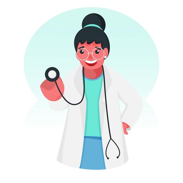 診断のための聴診器を保持している医者の女の子キャラクター。