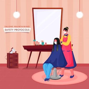 コロナウイルスのパンデミック中にサロンで働いている間に椅子に座っている女性クライアントの髪を切る若い美容師。