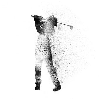 抽象的なスタイルでゴルファーの背景