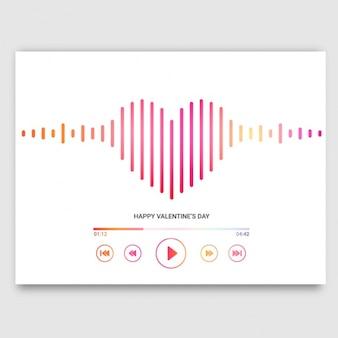 ハート型の音楽プレーヤーとのバレンタインカード