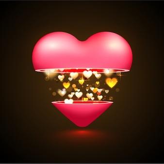黄金の心を持つ美しいバレンタインの背景