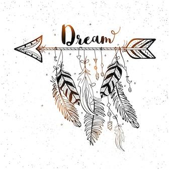 自由奔放に生きるスタイルで羽を持つ装飾矢印の美しい背景