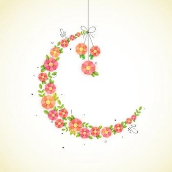 Креативный полумесяц, сделанный бумажными цветами для мусульманской общины. концепция празднования праздников.