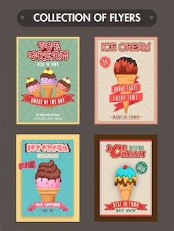 Набор из четырех флаеров для мороженого, меню или карты цен