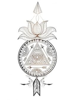 蓮の花と矢の装飾的な花のドリームキャッチャー。クリエイティブな手描きの民族的な装飾的な要素。