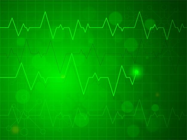光沢のある緑色の心拍パルスまたは心電図デザイン、健康および医療概念の創造的な背景。