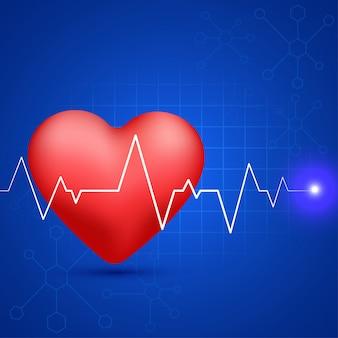 Глянцевое красное сердце с белым пульсом пульс на фоне синих молекул для медицинской концепции.