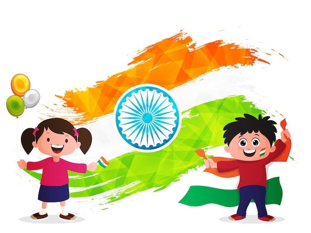かわいい子供たちとクリエイティブインディアンフラッグデザインの抽象的な幾何学的なブラシストロークで作られた独立記念日の背景。