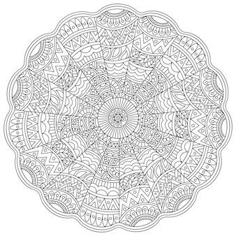 Детальный цветочный дизайн мандалы для раскраски, винтажный декоративный орнамент, узор против стрессовой терапии.