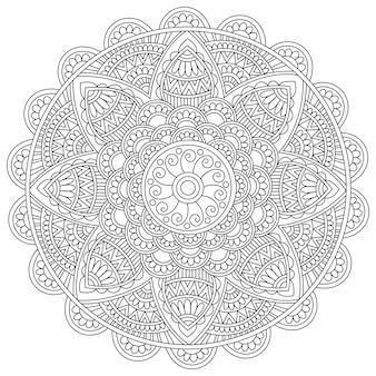 Подробный цветочный дизайн мандалы, винтажный декоративный элемент для раскраски, красивый художественный восточный паттерн для антистрессовой терапии.