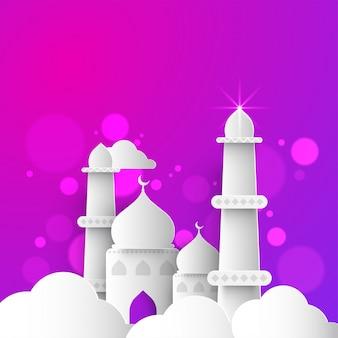 Творческая бумажная мечеть за облаками на блестящем фиолетовом фоне для празднования фестивалей мусульманских общин.