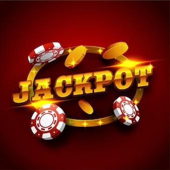 ゴールデンジャックポットのテキストデザインとカジノの背景。