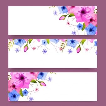 ウェブサイトのヘッダーに水彩の花が飾られています。