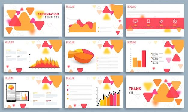 インフォグラフィック要素を含むビジネスプレゼンテーションテンプレート。