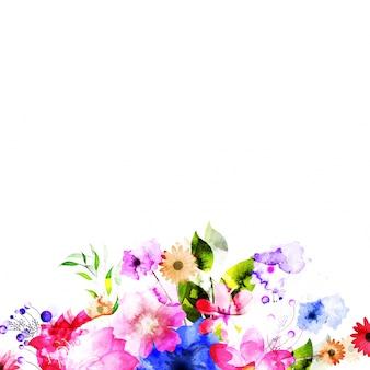 水彩画の花の背景を飾った。