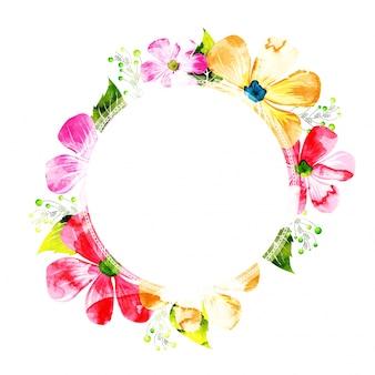 カラフルな花の招待状のカードデザインを飾った