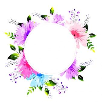 水彩花の装飾フレーム、招待状。