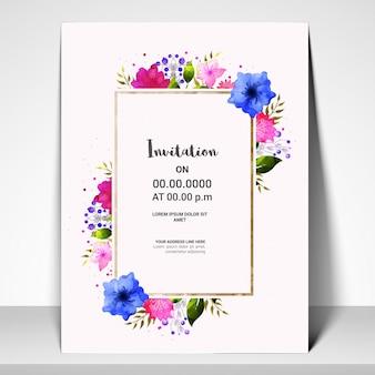 カラフルな花の招待状のカードテンプレート。