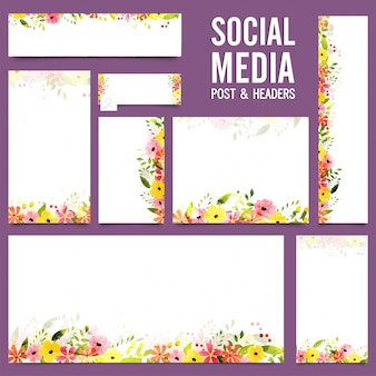 カラフルな花のあるソーシャルメディアの投稿とヘッダー。