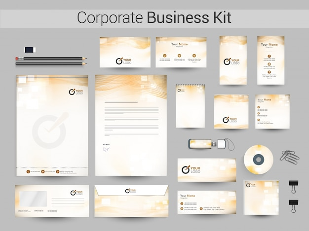 Корпоративный бизнес-набор с абстрактными волнами.