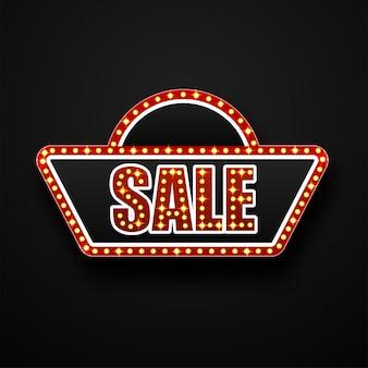 マーキーフレーム、電球とテキスト黒の背景に販売。