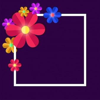 紫色の背景に白い四角いフレームとカラフルな紙の花。