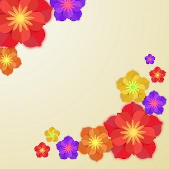 抽象的な背景にカラフルな紙の花。