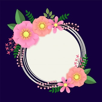 円形のフレームとカラフルな紙の花。