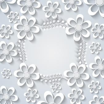 白い紙の花の背景。
