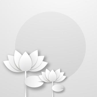抽象的な背景に白い紙の蓮の花。