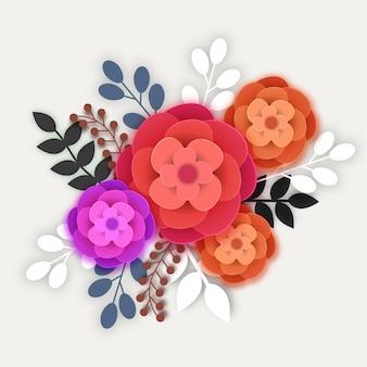 カラフルな紙の花と葉。