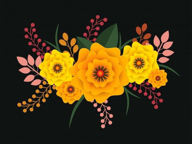 カラフルな紙の花と丘の色の背景に葉。