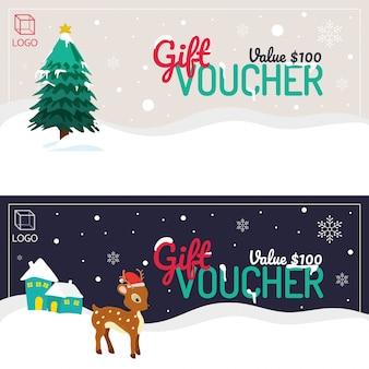 ハッピーホリデーまたはメリークリスマスギフトバウチャー、冬の背景、クリスマスツリー、スノーフレーク、トナカイ。