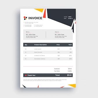 あなたのビジネスのための灰色の請求書テンプレートデザイン。