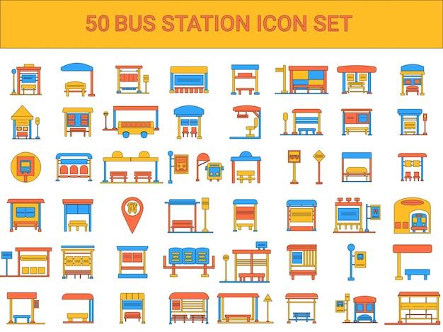 フラットスタイルのバスステーションのカラフルなアイコンセット。