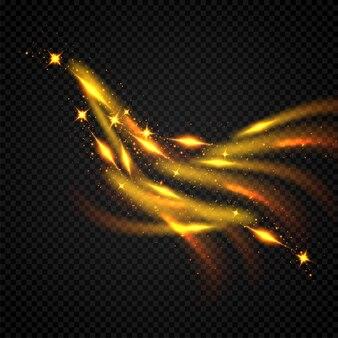 Блестящая волна. золотой игристый на черном фоне.